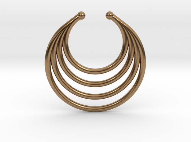 Faux Septum - Dropped Rings in Natural Brass