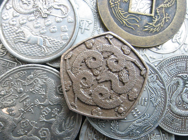 Steel Dragon Coin in Polished Bronzed Silver Steel