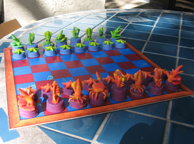 Sea Chess Pieces - Small 3d printed Board not included.