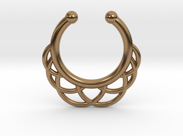 Faux Septum Ring 6 Outer Semicircles in Natural Brass