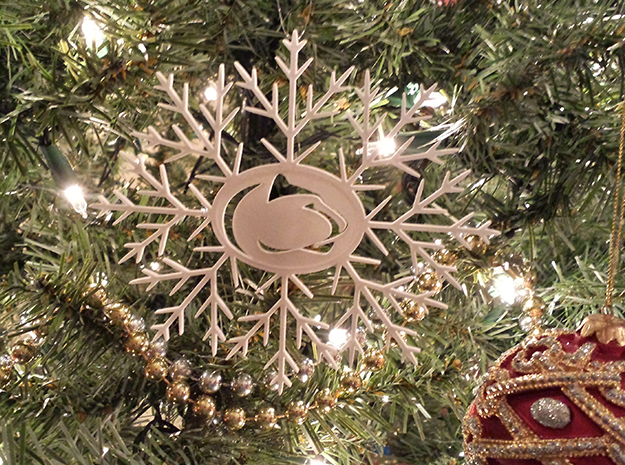 Nittany Lion Snowflake Ornament in White Strong & Flexible