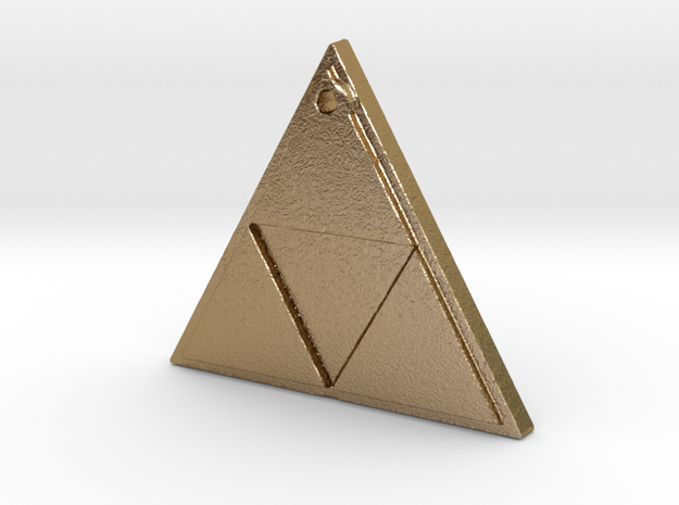 Zelda Triforce Logo Necklace in Polished Gold Steel
