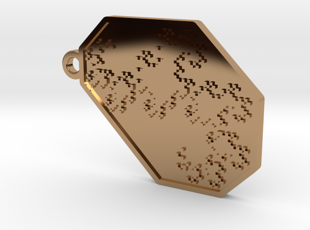 Dragon Curve Keychain/Pendant in Polished Brass