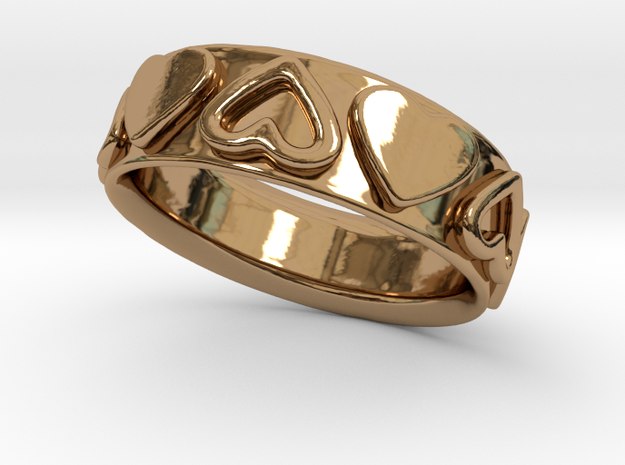 Heart Wrapped Ring - Size US 7 in Polished Brass