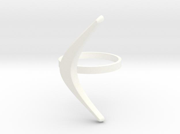 boomerang ring in White Processed Versatile Plastic