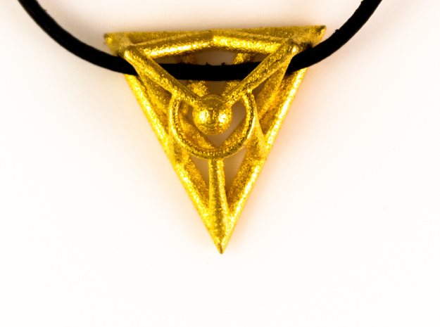 Triangle Line Pendant in Polished Gold Steel