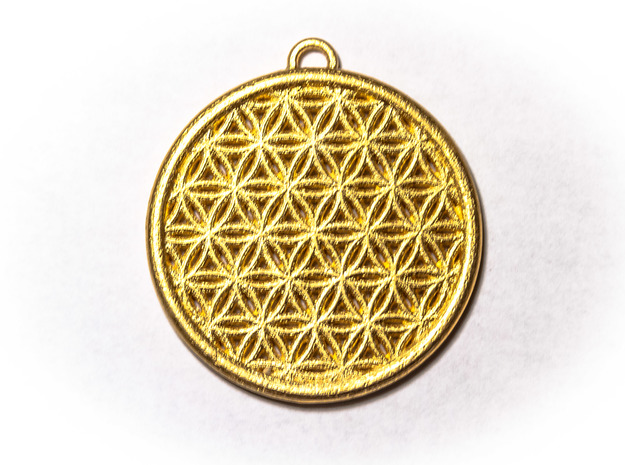 Flower Of Life Pendant  in Polished Gold Steel