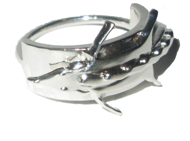 Fox Stole Ring - Sz. 8 in Fine Detail Polished Silver