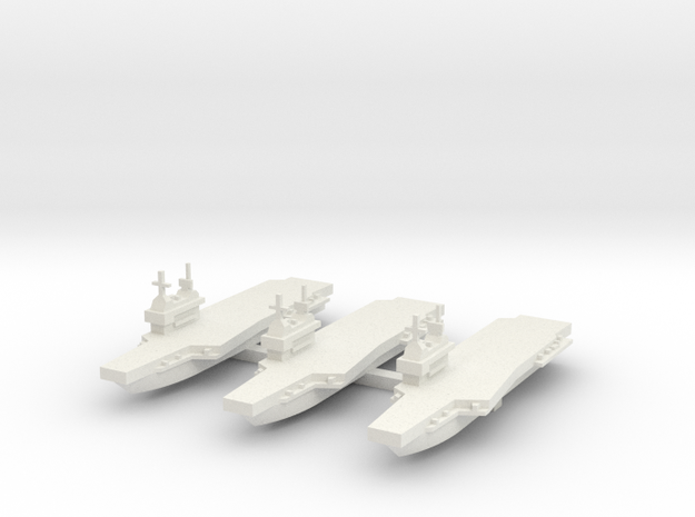 Generic aircraft carrier with angled deck x 3 in White Natural Versatile Plastic