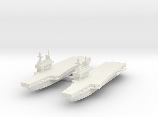 Generic aircraft carrier with angled wing X 2 in White Natural Versatile Plastic