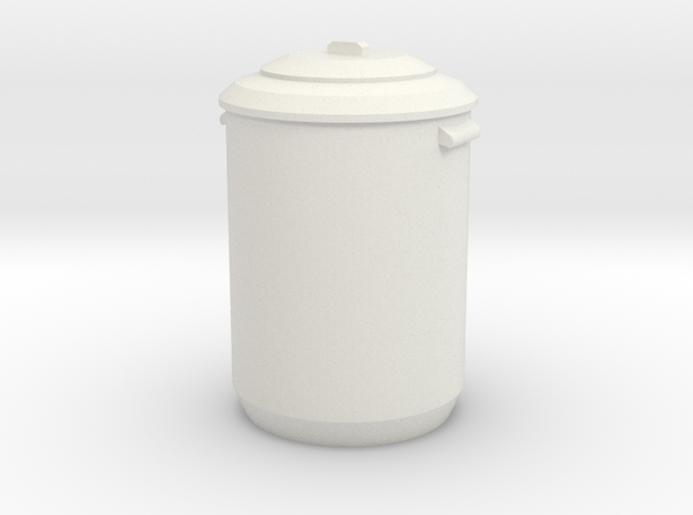 1:24 Garbage Can - Dustbin in White Strong & Flexible