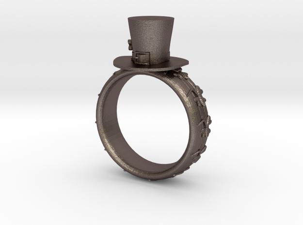 St Patrick's hat ring(size = USA 7-7.5) in Polished Bronzed Silver Steel