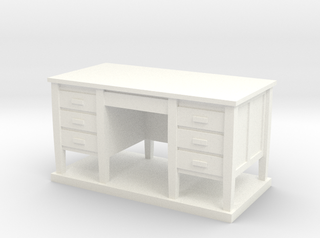 Miniature 1:48 Desk in White Processed Versatile Plastic