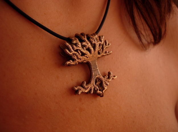 Tree Lingalad Pendant in Polished Bronzed Silver Steel