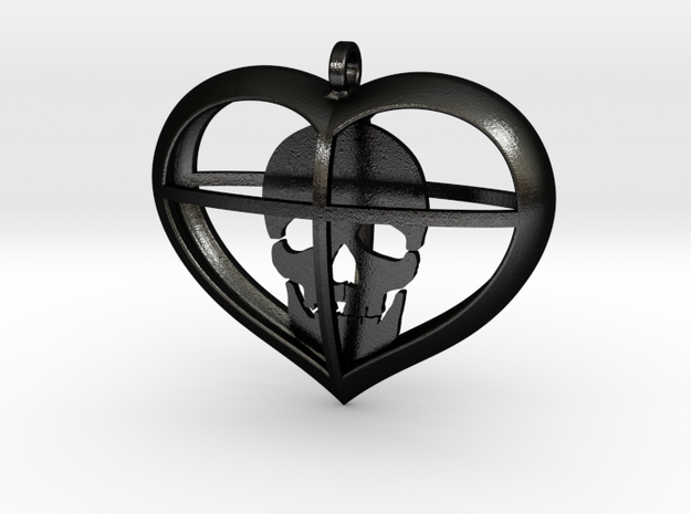 Skull Heart (1) in Matte Black Steel