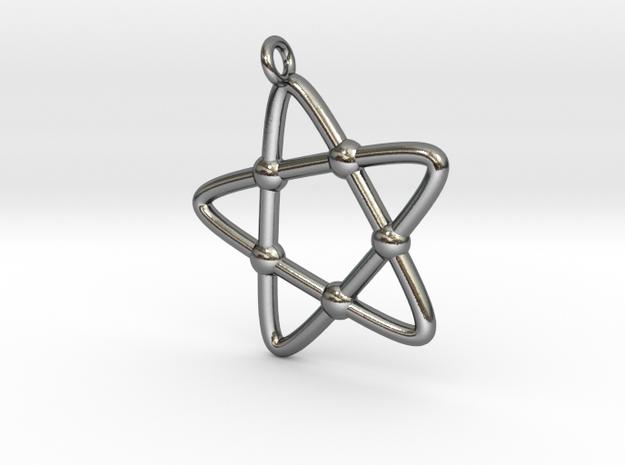 Hypotrochoid Star Pendant in Polished Silver