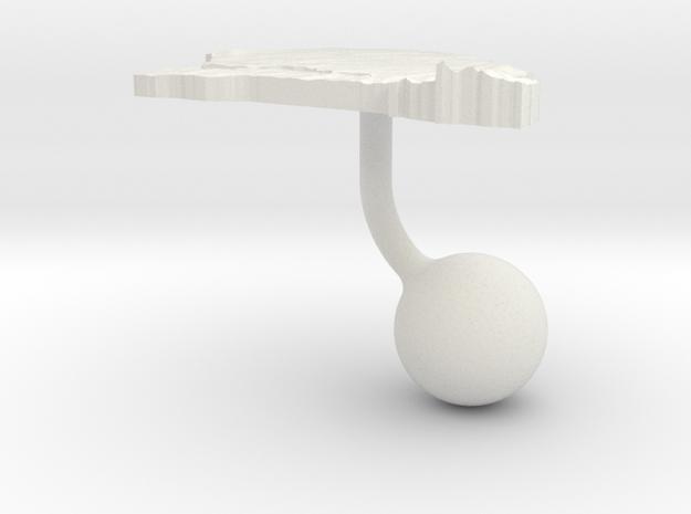 Senegal Terrain Cufflink - Ball in White Natural Versatile Plastic