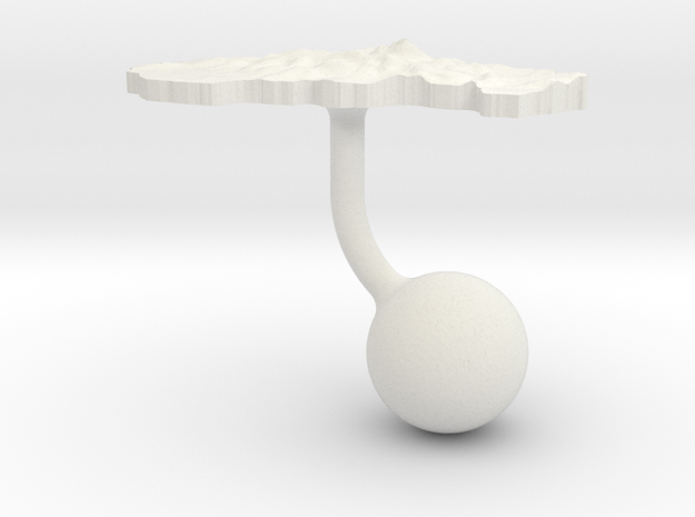 Slovakia Terrain Cufflink - Ball in White Natural Versatile Plastic