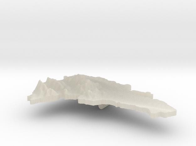 Dominican Republic Terrain Silver Pendant 3d printed