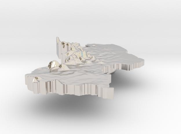 Guyana Terrain Silver Pendant 3d printed