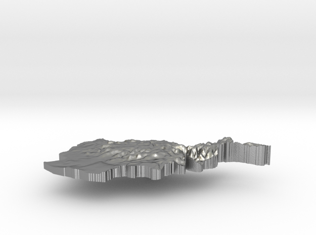 Afghanistan Terrain Silver Pendant in Natural Silver