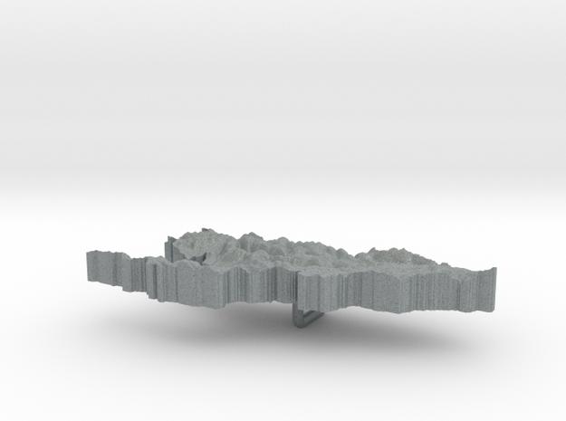 Kyrgyzstan Terrain Silver Pendant 3d printed