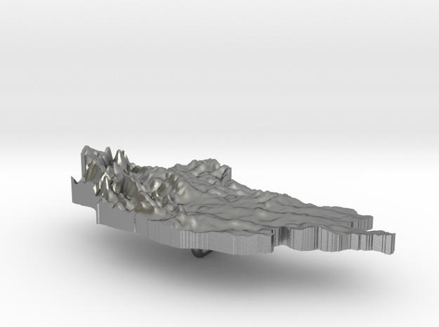 Mongolia Terrain Silver Pendant 3d printed