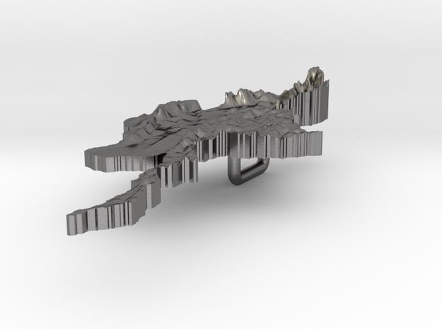 Myanmar Terrain Silver Pendant 3d printed