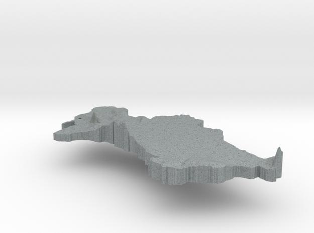 Turkmenistan Terrain Silver Pendant 3d printed