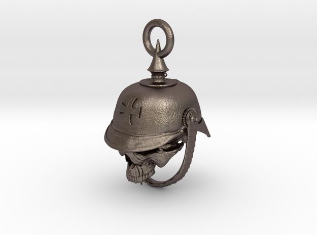 WWI German Infantry Skull Biker Bell in Polished Bronzed Silver Steel