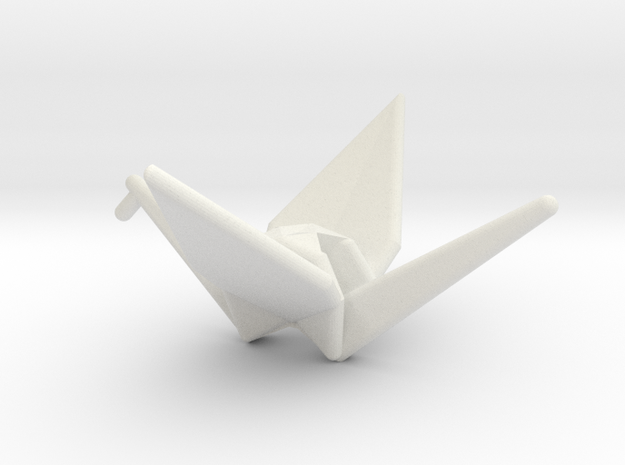 Origami Crane in White Natural Versatile Plastic