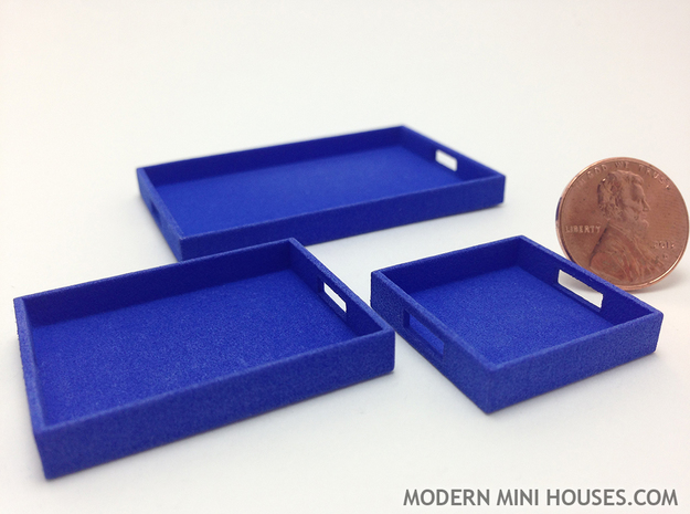 Square Tray Small 1:12 scale 3d printed Tray in front right is the Square tray in this listing.