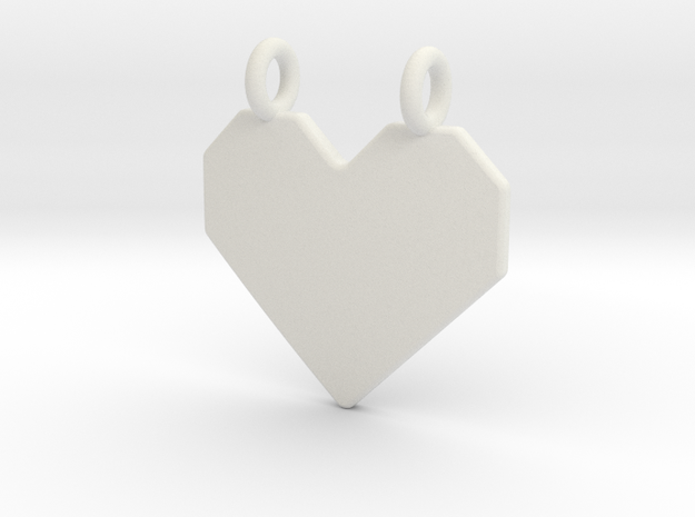 Origami Heart Pendant in White Natural Versatile Plastic
