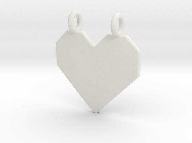 Origami Heart Pendant in White Natural Versatile Plastic