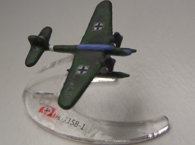 He 115 (Single) 1:900 3d printed comes unpainted without stand.