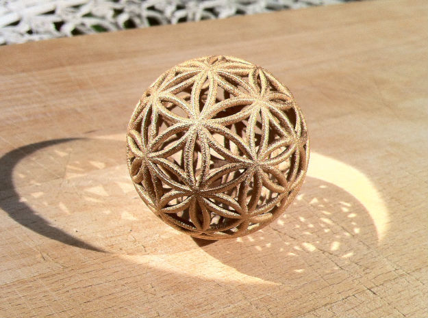 3D 200mm Orb of life (3D Flower of Life)  in Sandstone