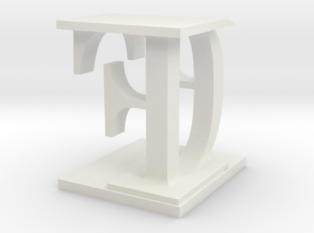 Two way letter / initial D&F in White Natural Versatile Plastic