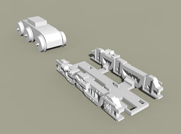Baldwin RT-624 Side Frames X4 N Scale 1:160 in Smooth Fine Detail Plastic