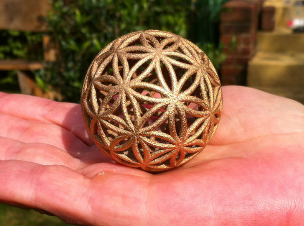 3D 50mm Orb of Life (3D Flower of Life)  in Sandstone