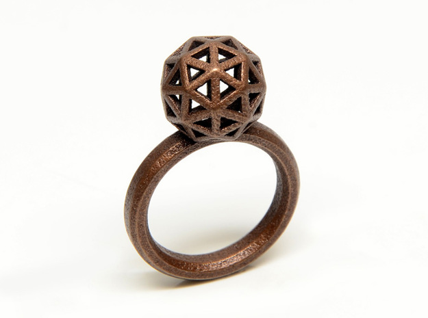 Geodesic Dome Ring size 7 in Polished Bronze Steel