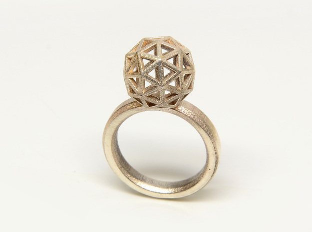 Geodesic Dome Ring size 8 3d printed Sterling Silver