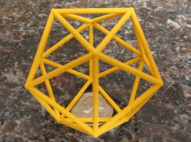 Icosahedron (100 cc) in Yellow Processed Versatile Plastic