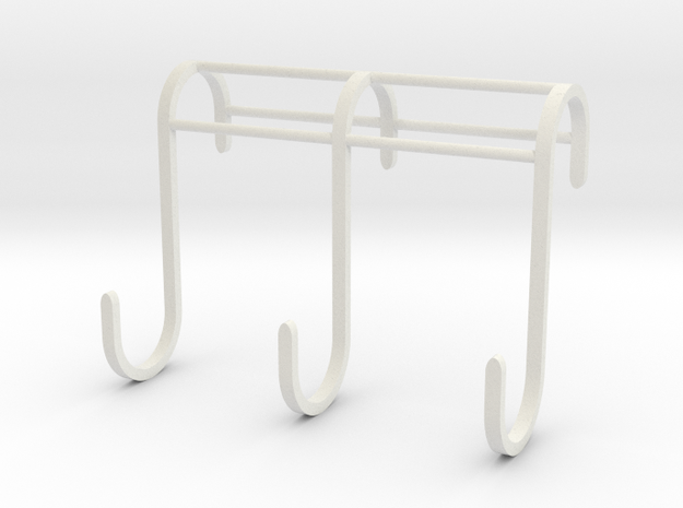 3 Hook Set for IKEA GRUNDTAL (17mm / 2.5mm) in White Natural Versatile Plastic