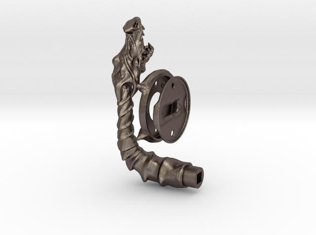 Dragon doorhandle 005 for left hinged doors in Polished Bronzed Silver Steel