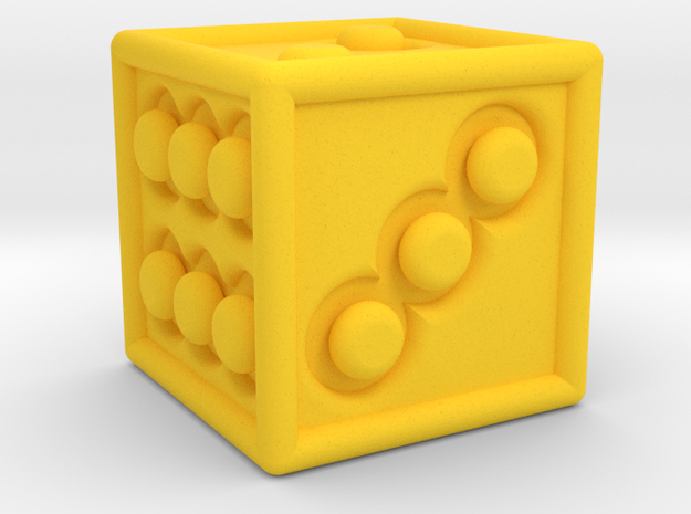 Tactile dice in Yellow Strong & Flexible Polished