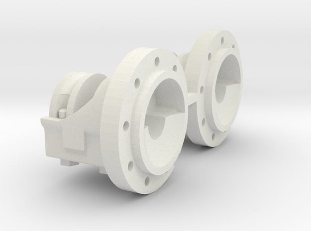 1:16 scale IH 9 bolt Dual Hubs in White Natural Versatile Plastic