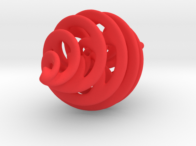 Entanglement Bauble (with loop) in Red Processed Versatile Plastic