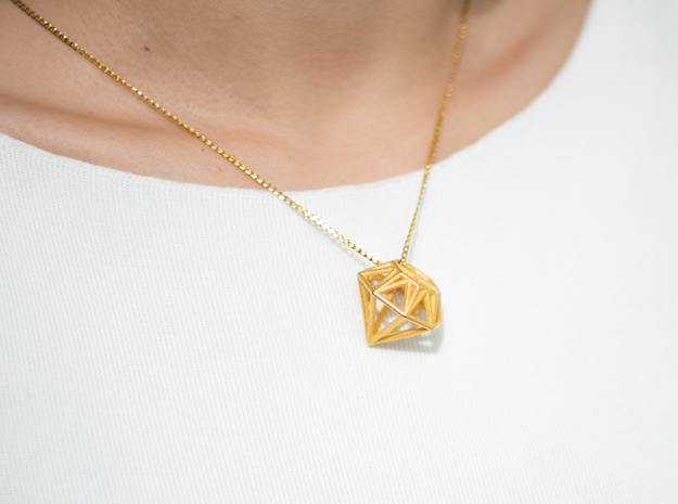 Diamond Pendant in Polished Gold Steel