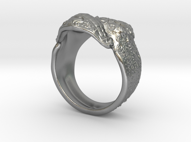 Day Of The Dead Skull Ring in Natural Silver
