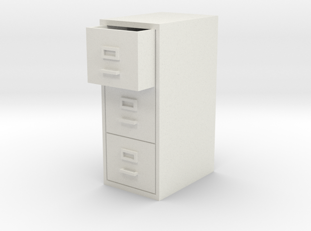 Single Filing Cabinet in White Natural Versatile Plastic